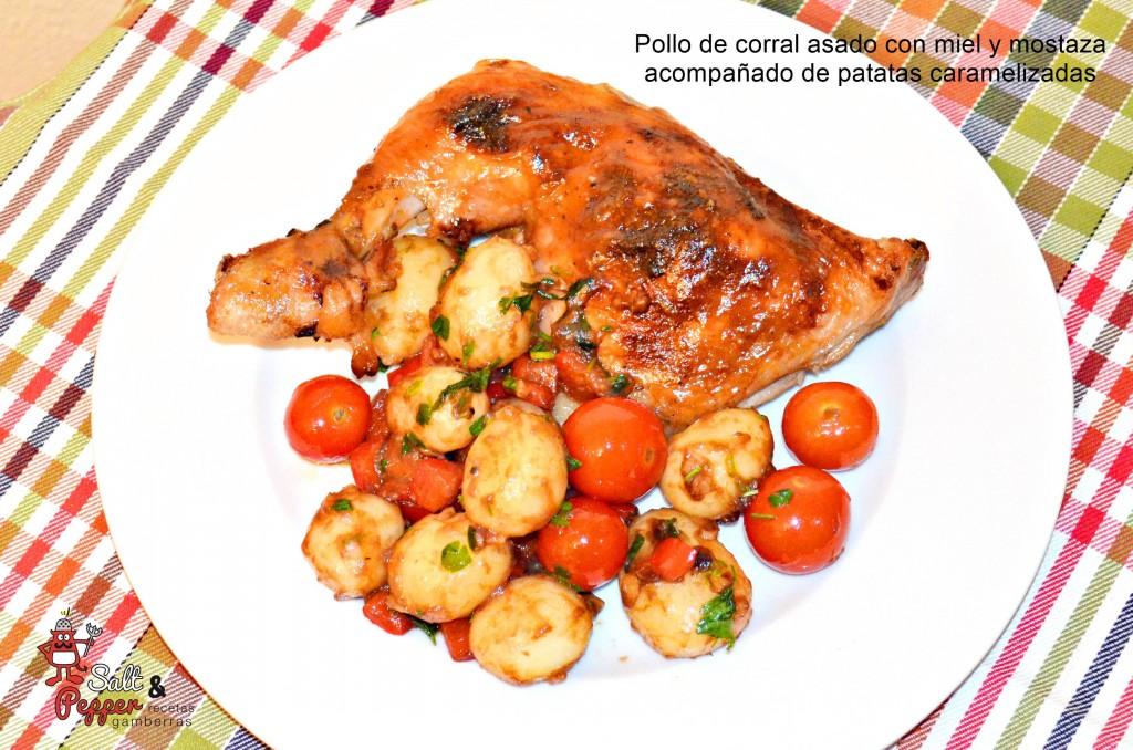 pollo_asado_miel_mostaza_patatas_caramelizadas