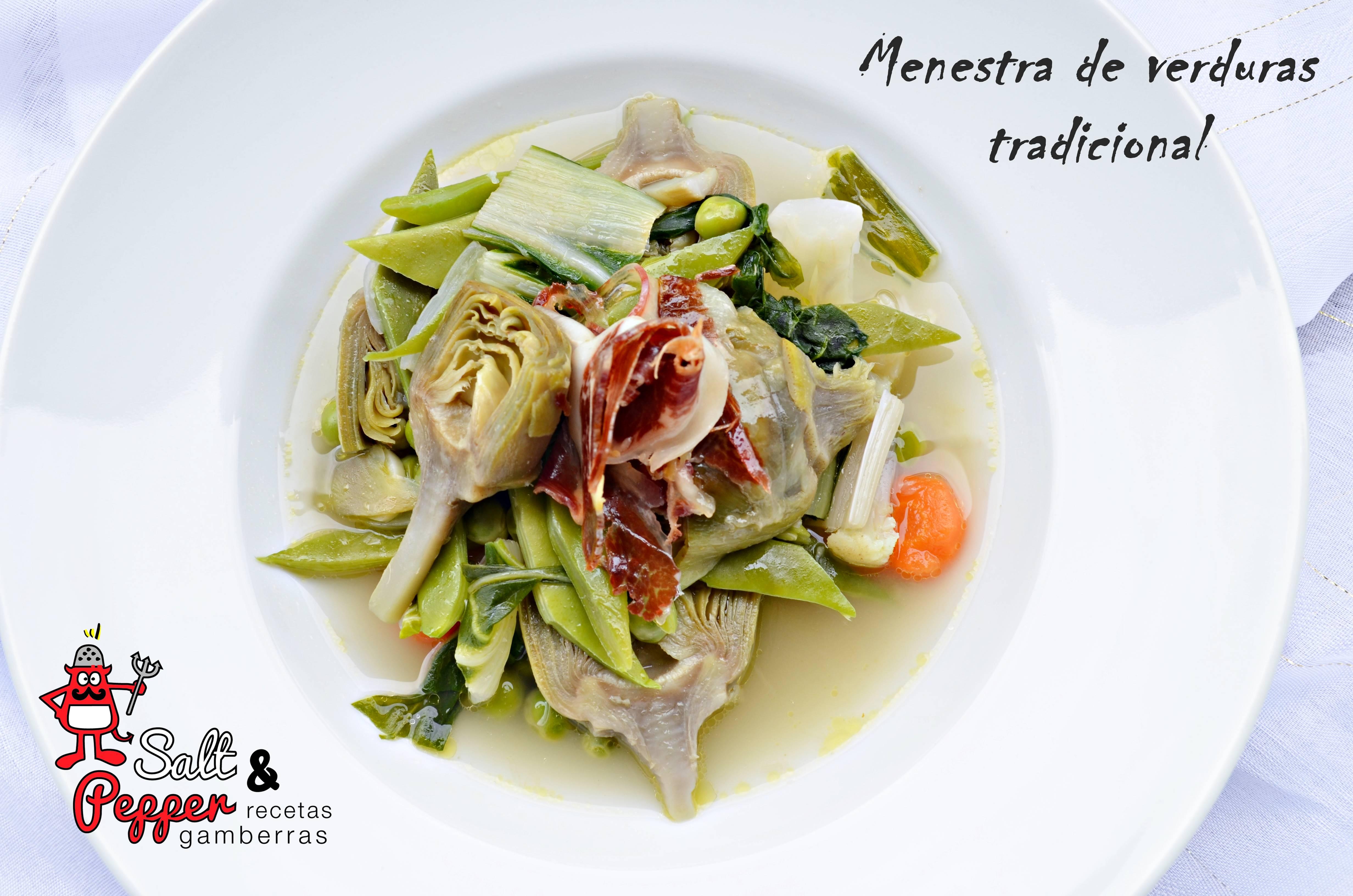 Plato de tradicional menestra de verduras navarras.