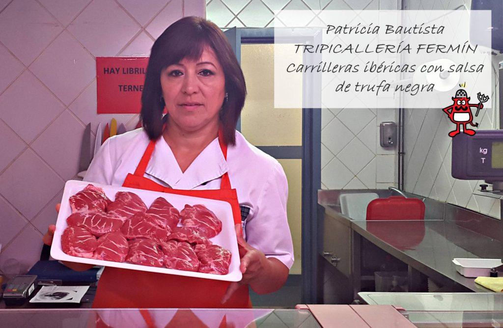 Imagen de Patricia Bautista, tendera de la Tripicallería Fermín, en el Mercado de Santo Domingo.