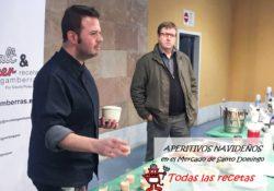 David Poley y Kike París realizando un taller de cocina y un maridaje de vermuts en el Mercado de Santo Domingo.