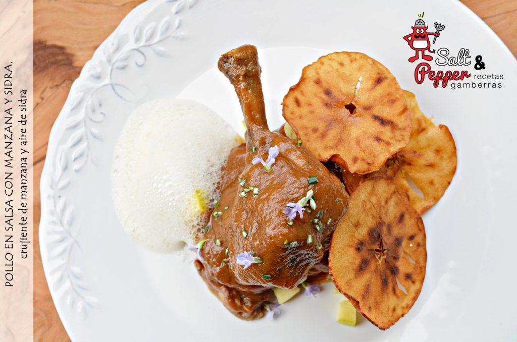 Pollo con salsa de manzana y sidra, crujientes de manzana y aire de sidra.