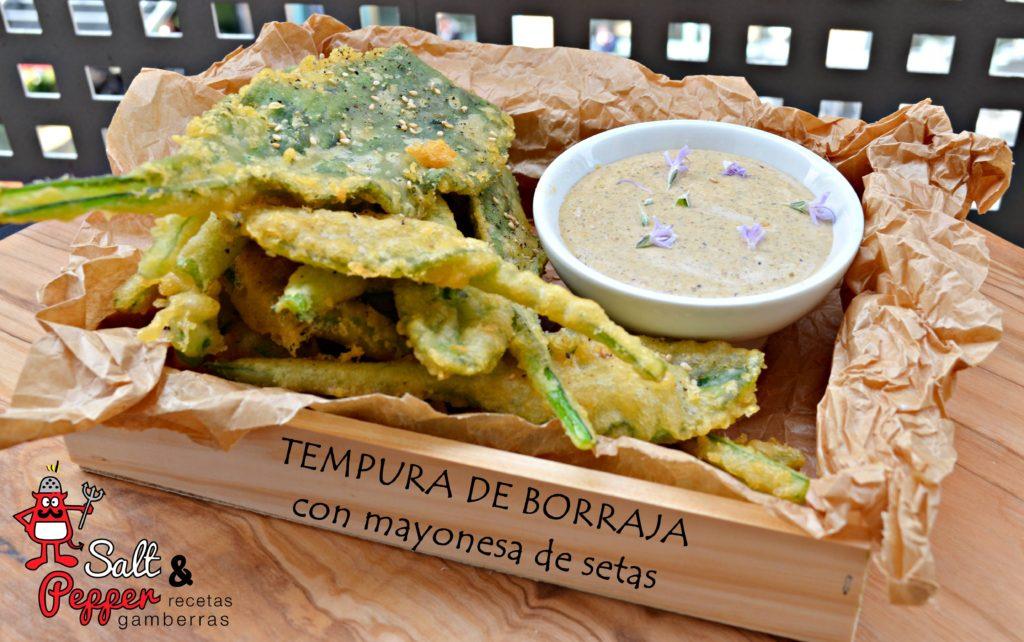 Borrajas en tempura con mayonesa de setas