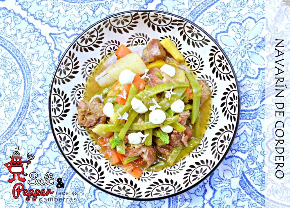 Plato de navarín de cordero con verduritas y alioli de hierbabuena.