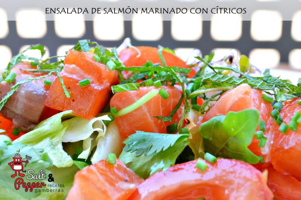 Ensalada de salmón marinado con cítricos