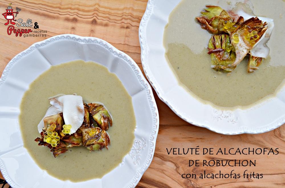 Veluté de alcachofas de Robuchon con alcachofas fritas