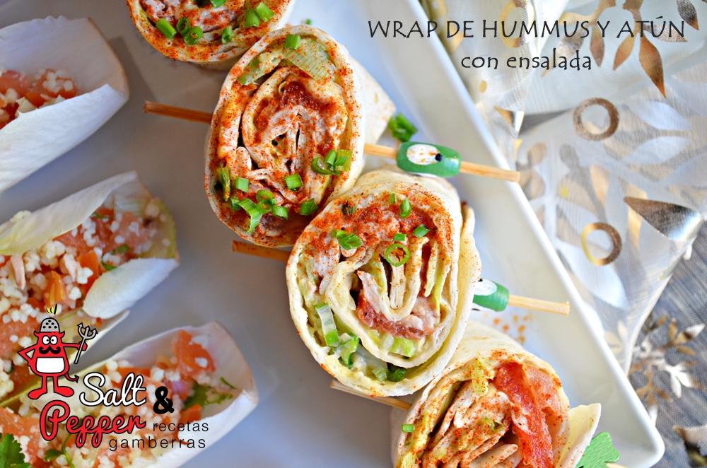 Wraps de hummus, atún y ensalada