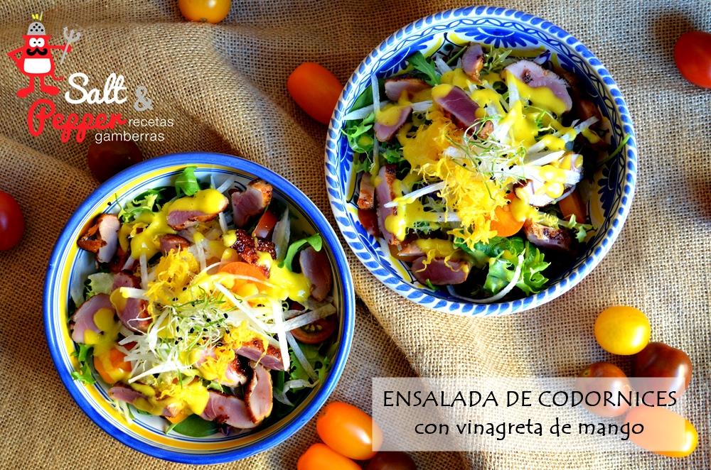 Ensalada de pechugas de codorniz con vinagreta de mango