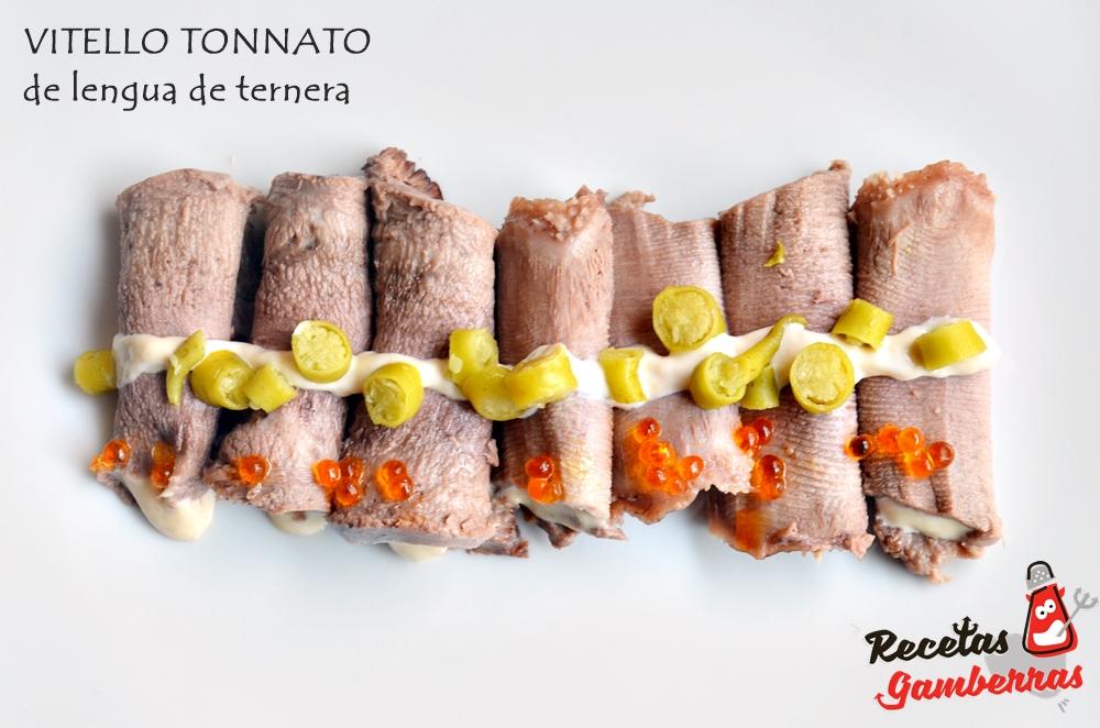 Plato de delngua de ternera con mayonesa de atún.