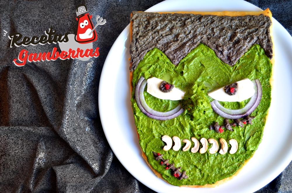 Pizza con forma de Frankenstein.
