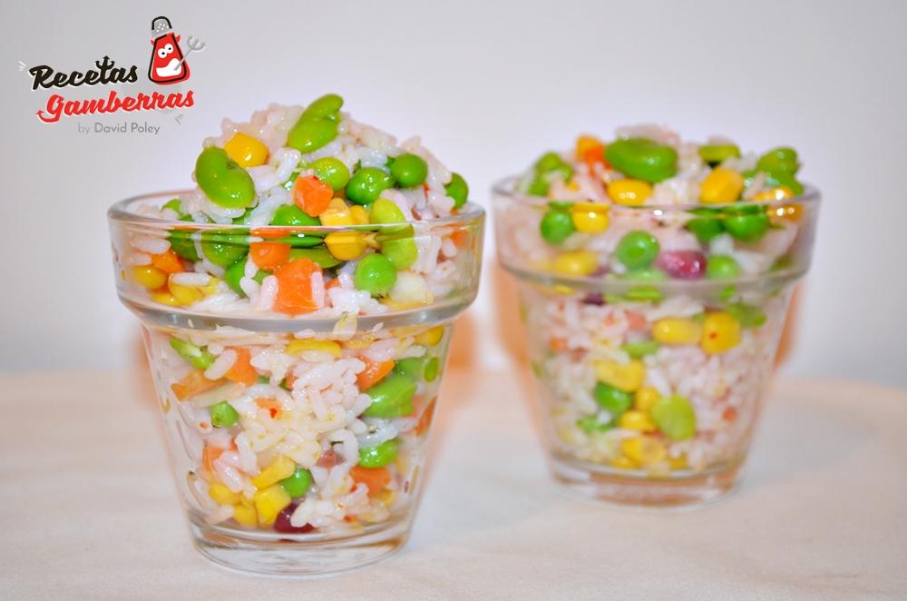 Ensalada de arroz y verduritas de primavera