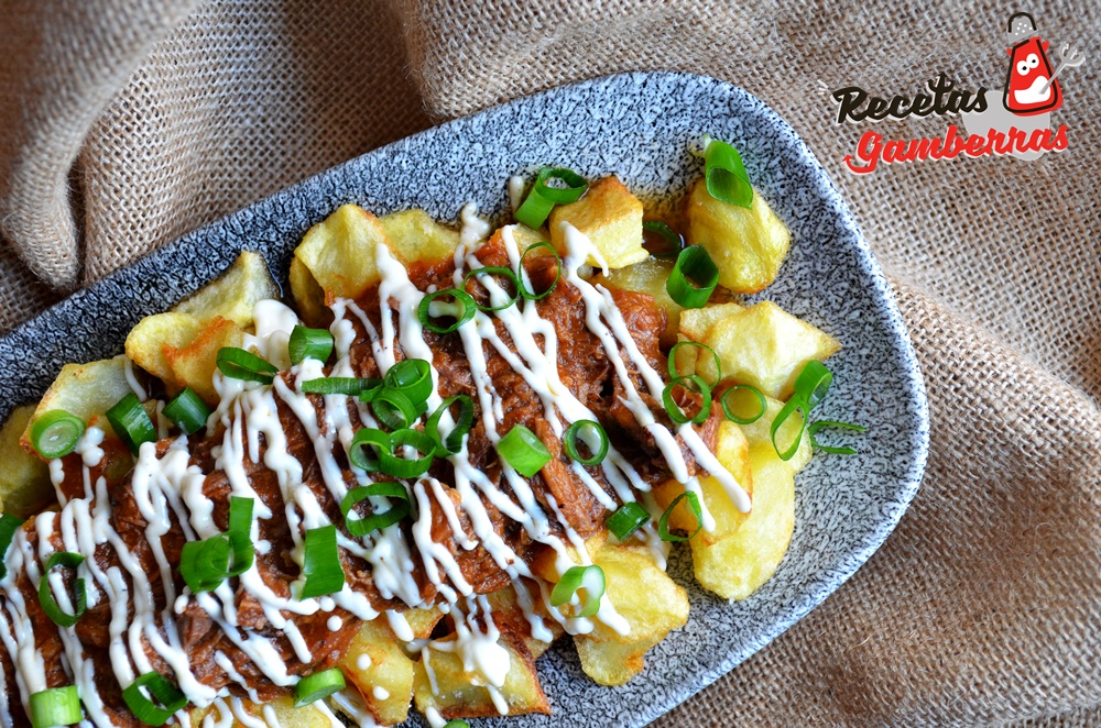 Patatas fritas con boloñesa de carrilleras al Oporto y mayonesa de queso del Roncal